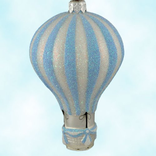 Patricia Breen Christmas Ornaments, Petite Balon, Aquamarine, 2001, 2121, Striped hot air balloon, pearl basket