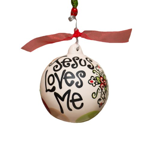Glory Haus Jesus Loves Me Cross Ball Ornament, 4 by 4-Inch