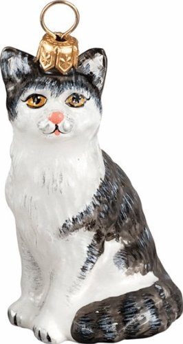 The Pet Set Blown European Glass Cat Ornament by Joy to the World Collectibles – Black & White Shorthair