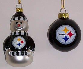 NFL Pittsburgh Steelers Snowman and Ball Mini Blown Glass Ornaments