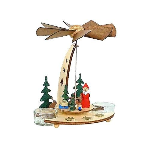 Alexander Taron Home Seasonal Décorative Accessories Dregeno Pyramid – Santa with Toys in Forest – 7″H x 6″W x 6.5″D