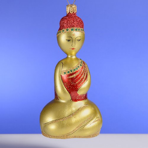 De Carlini Buddha with Red Hat Italian Mouthblown Glass Christmas Ornament