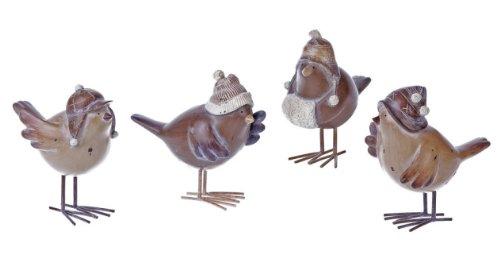 Homespun Christmas Resin Birds & Metal Feet Set Creative Co-op