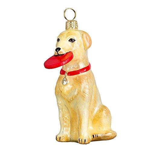 Yellow Labrador Retriever Glass Christmas Ornament
