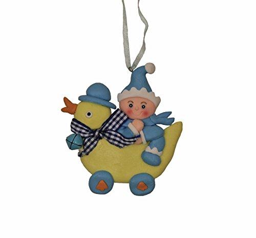 St. Nicholas Square Christmas Baby Boy Duck Ride Ornament