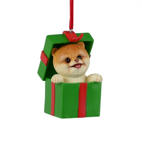Department 56 Presents Boo The World's Cutest Dog in Present Ornament, 2.75-Inch