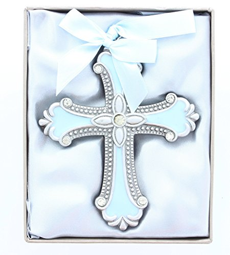 Blue Cross Ornament. Classic Cross Shape with a Detailed Design Pewter Finish Poly Resin Cross Enhanced with Blue Inlaid Enamel, a Beaded Border and Clear Rhinestones Measures 4 1/4″ X 3 1/2″ Blue Satin Ribbon Loop Attached At Top for Hanging. Great for Baptism, First Communion and Christmas Tree Ornament.