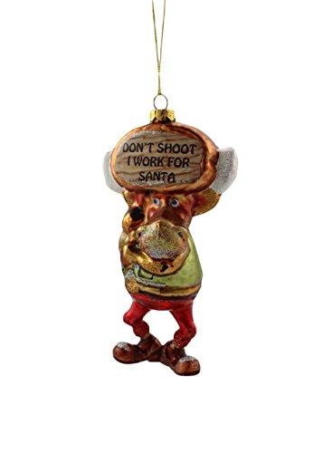 December Diamonds Moose Don t Shoot I Work For Santa Glass Christmas Ornament