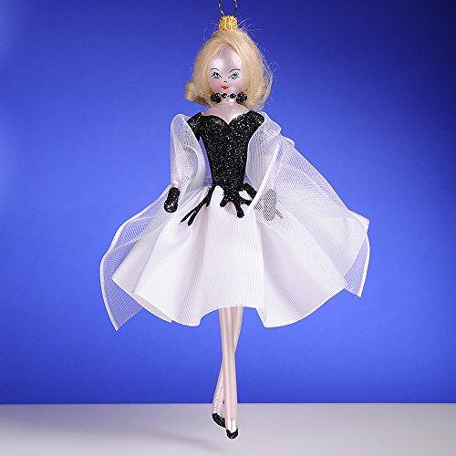 De Carlini Blonde in White and Black Dress Italian Mouthblown Christmas Ornament
