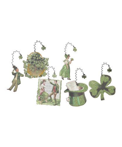 St. Patrick's Day Decor – Glittering Rustic Shamrock Ornaments – Set of 6