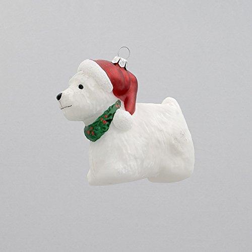 White Scottie dog with santa hat Christmas ornament