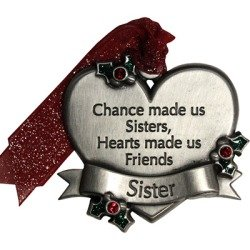 Gloria Duchin Sister Heart With Holly Pewter Christmas Ornament