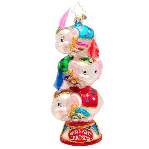 Christopher Radko Circus Star Trio Baby's First Glass Christmas Ornament 2014