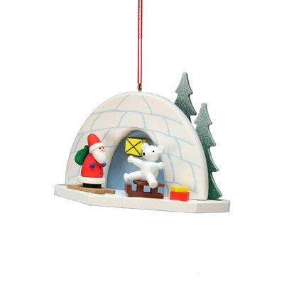 """10-0586 – Christian Ulbricht Ornament – Igloo Polar Bear – 2.75″""""H x 3.5″""""W x 1.5″""""D"""