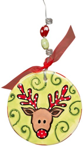 Glory Haus Reindeer Flat Ornament, 5 by 4-Inch