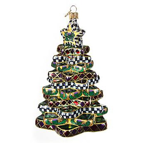 MacKenzie-Childs Glass Ornament – Stacking Star Tree (4″ dia. x 5.75″Tall)