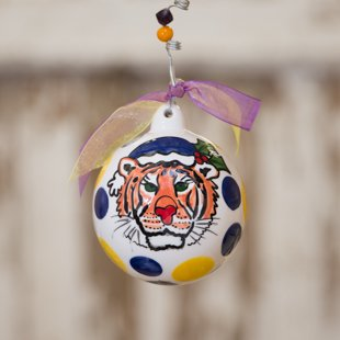 """Glory Haus Louisiana State University LSU Ball Ornament. Have Yourself a Purple and Gold Christmas"""" with the Louisiana State University Tiger Porcelain Ball Christmas Ornament. A Must-have for All LSU Fans! Comes with a Decorative Ribbon & Packaged in a Gift Box for Perfect Presentation."""