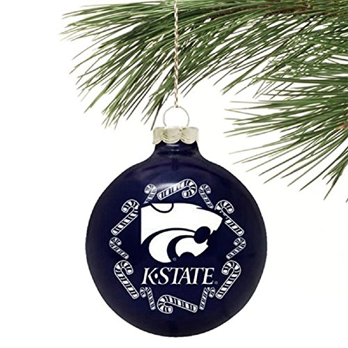 """Kansas State Wildcats NCAA 2 5/8"""" Painted Round Candy Cane Christmas Tree Ornament"""