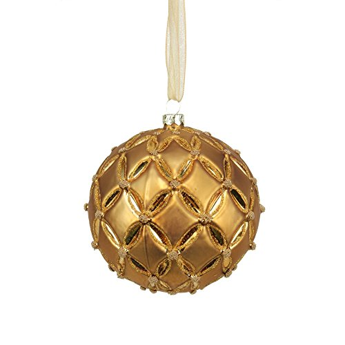 Sage & Co. XAO14637GD Floral Pattern Glass Ball Ornament, 4.5-Inch