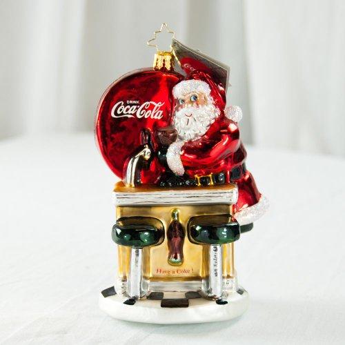 Christopher Radko Coca-Cola Fountain Ornament Santa's Coke Break
