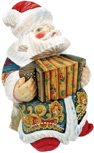 G. Debrekht Accordian Sant a Figurine, 6-Inch Tall, Limited Editon of 1,200, Hand-Painted