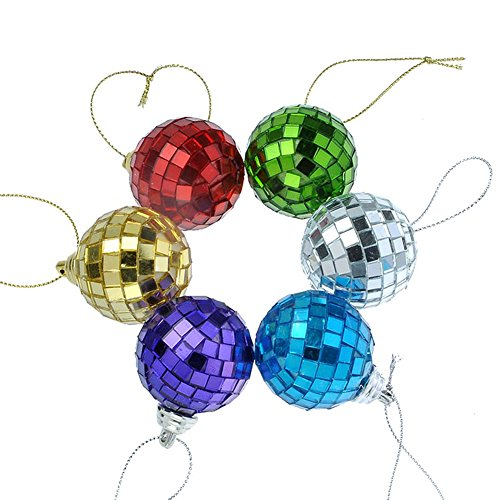 Smartbargain 6pcs Multicolor Mirror Disco Ball Party Christmas Xmas Tree Ornament Decoration with Cosmos Fastening Strap (39mm)