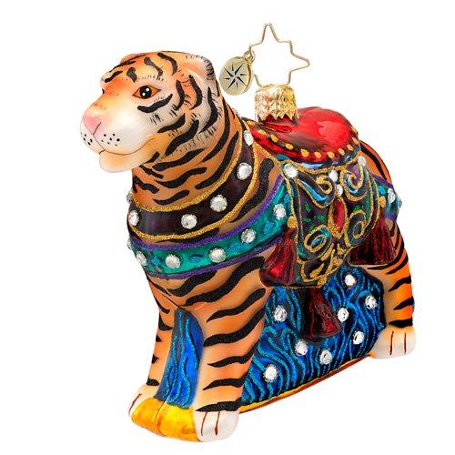 Christopher Radko Bengal Beauty Tiger Glass Christmas Ornament 2014