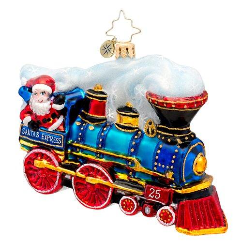 Christopher Radko Glass Winter Express Train Christmas Ornament #1017109