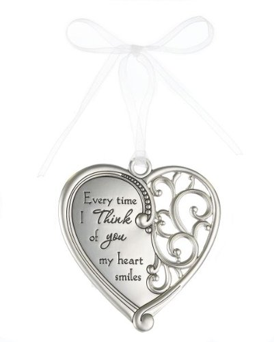 """Everytime I Think of you my heart smiles"" Always In My Heart Filigree Ornament"
