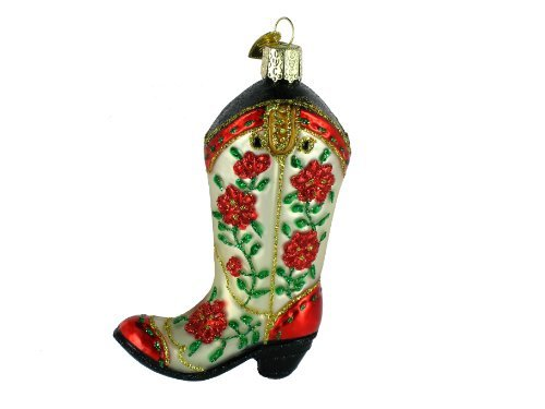 Old World Christmas Christmas Cowgirl Boot, 4″ Glass Ornament