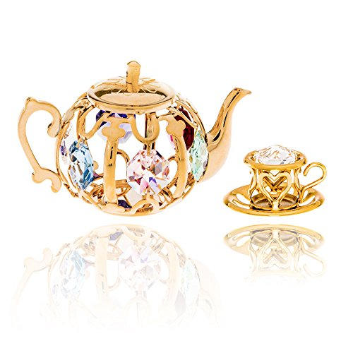 24k Gold Plated Tea Set Ornaments with Swarovski Elements Crystals by Crystal Temptations