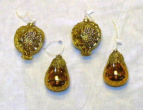 MarthaHoliday Silent Night Set of 4 Pear & Pomegranate Christmas Ornaments