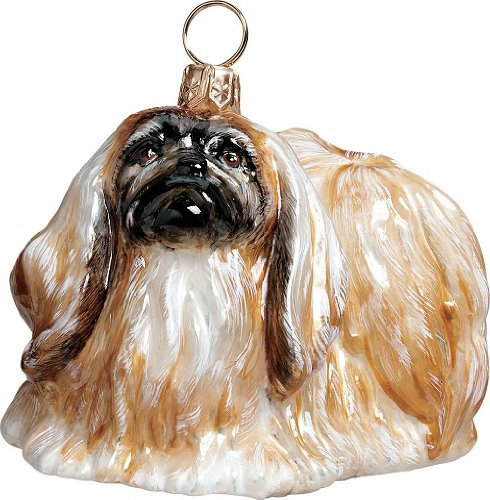Blown Glass Pekingese Ornament
