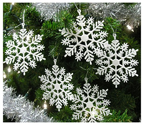 Set of 24 Snowflake Christmas Ornaments Pearlized Winter Wedding Favor Frozen Birthday Party Theme Decoration for Girls – Iridescent White – 4 Inch