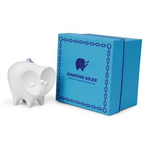 Jonathan Adler White Porcelain Elephant Christmas Ornament