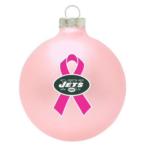 New York Jets NFL Breast Cancer Awareness Pink Traditional 2 3/4″ Glass Christmas Ornament