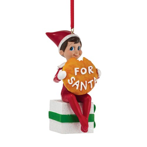 Department 56 Elf on The Shelf Elf with Santa's Cookie Ornament, 3.74-Inch