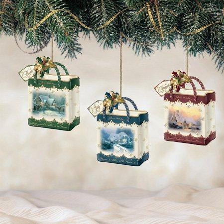 Thomas Kinkade WONDERFUL CHRISTMAS Gift Bag – shaped Christmas Ornament Set of 3