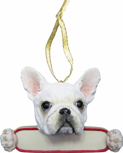 """French Bulldog Ornament White """"Santa's Pals"""" With Personalized Name Plate A Great Gift For French Bulldog Lovers"""