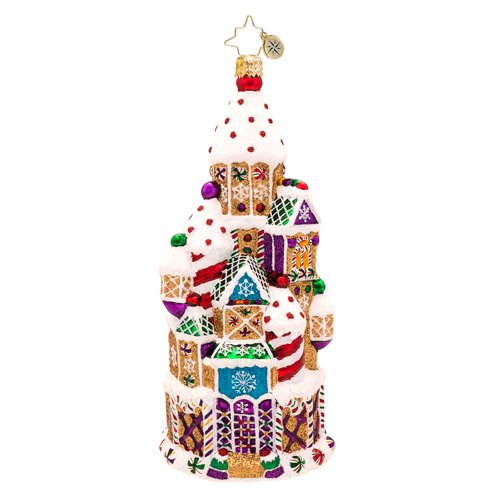 Christopher Radko Candy Chateau Gingerbread Glass Christmas Ornament 2014