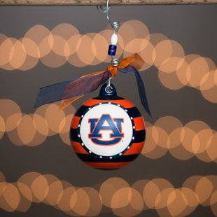 Glory Haus Auburn Stripe Ornament. (Au) Have Yourself an Orange and Blue Christmas! Comes with a Decorative Ribbon & Packaged in a Gift Box for Perfect Presentation.