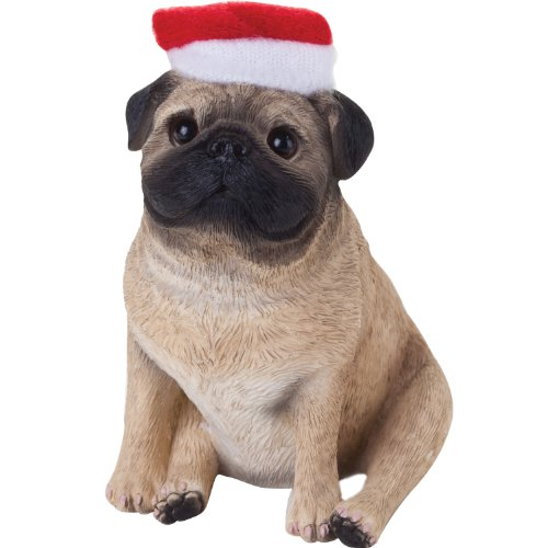 Sandicast Fawn Pug with Santa Hat Christmas Ornament