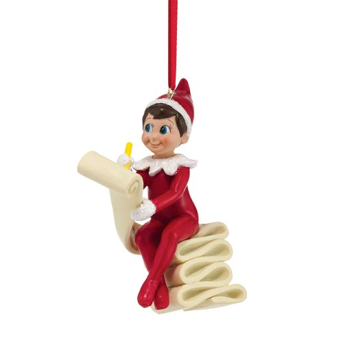 Department 56 Elf on The Shelf Elf Checking The List Ornament, 3.82-Inch