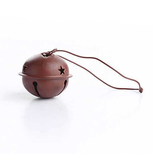 Group of 6 Primitive Red Tin Sleigh Bell Ornaments for Christmas, Holiday or Everyday