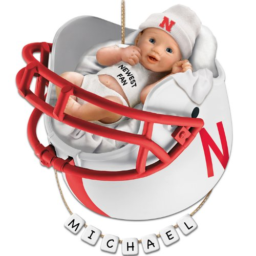 University of Nebraska Cornhuskers Football Baby's First Ornament with Personalization Kit by The Bradford Exchange