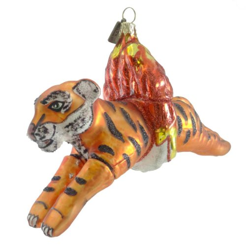 Holiday Ornament TIGER THROUGH FIRE RING 50250 Tricks Circus Animal New