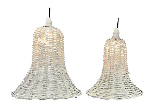 Fantastic Craft Snow Hanging Bell Light, 10 by 12-Inch, Set of 2