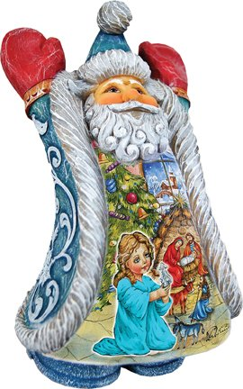 G. Debrekht XMAS NIGHT GREETING SANTA Hand Painted Derevo Collection Gift