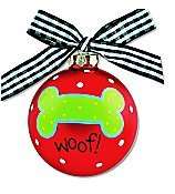 Coton Colors Painted Christmas Ornaments. Woof! Dog Bone Glass Ornaments