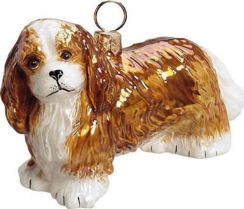 The Pet Set Blown Glass European Dog Ornament by Joy to the World Collectibles – Blenheim Cavalier King Charles Spaniel Dog